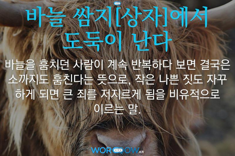 바늘 쌈지[상자]에서 도둑이 난다: 바늘을 훔치던 사람이 계속 반복하다 보면 결국은 소까지도 훔친다는 뜻으로, 작은 나쁜 짓도 자꾸 하게 되면 큰 죄를 저지르게 됨을 비유적으로 이르는 말.